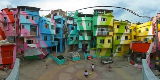 Praça Cantão, Favela Paiting Project: fazendo uso de arte e beleza afim de chamar a atenção da mídia para a situação dos moradores de favelas cariocas.
