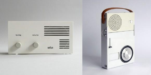 """Braun Lectron Radio e o TP1, também conhecido como """"o primeiro walkman"""", ambos desenhados por Rams para a Braun."""