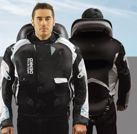 Jaqueta com airbag para motociclistas.
