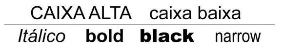 Figura 03: Caixa alta e baixa (amplitude) e variações de uma mesma família tipográfica (arial)
