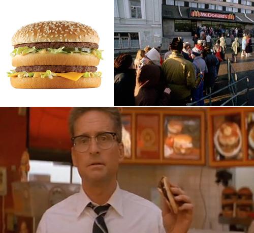 O comercial do hambúrguer convence muita gente, mas não Michael Douglas