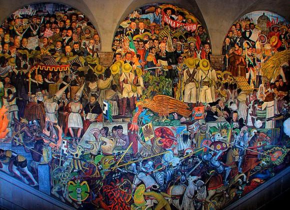 Diego Rivera - The History of Mexico (1929-35) Afresco representa o México do passado e o México do futuro: vemos a civilização Asteca abaixo, passando pelos camponeses e acima, os líderes da Revolução. Ao centro, a águia, símbolo da nação
