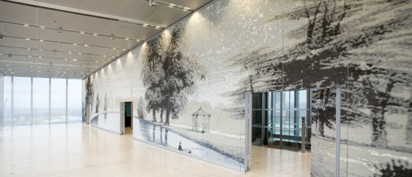Rothschild Bank HQ – Textile depicting a landscape from a 1864 map of Gunnersbury Park, 2011