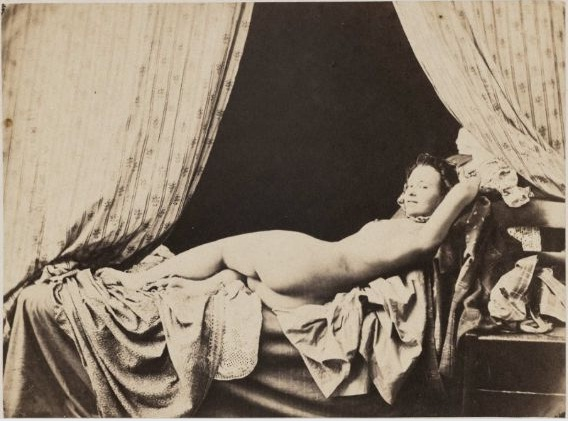 Auguste Belloc, Reclining Nude – French, 1855