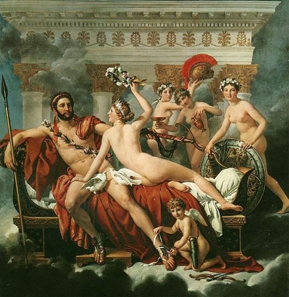Discípulo de Joseph Marie-Vien, Jacques-Louis David defende a utilização do modelo em todas as fases de produção, do esboço à pintura