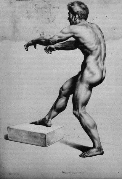 Nu masculino, Litographie d'aprés nature, Académie aux deux crayons, séc XIX