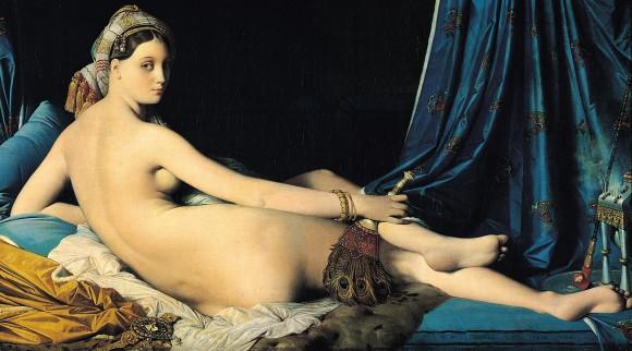 """Ingres – Odalisca, 1814: representação do véu indica a ideia do """"misterioso"""", uma construção muito comum do ocidente em relação ao oriente"""