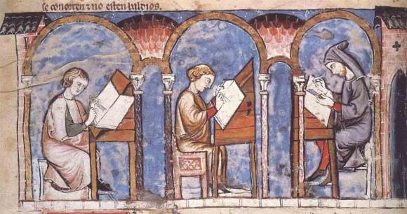 """Scriptorium, literalmente """"um local de escrever"""", era o local de trabalho onde os monges copistas reproduziam manuscritos na Idade Média."""
