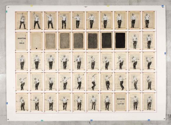 Wanting to hold/Needing to let go (2012) é um trabalho de William Kentridge feito a partir de uma sequência de desenhos em folhas de um livro antigo, onde as ilustrações oscilam entre o campo de animação, projeto editorial e arte.