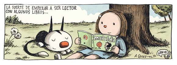 Enriqueta de Liniers lendo Mafalda de Quino