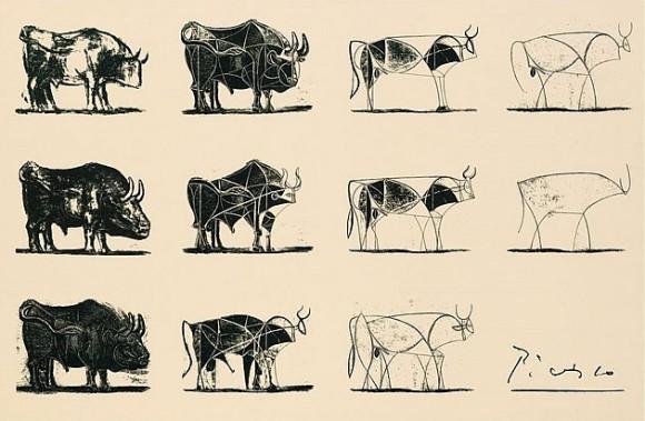Estudos de Picasso de traços de búfalo. Até nos mais simples estudos vemos uma experimentação sem medo de ser.