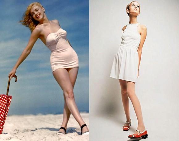 O jeito como a sociedade vê a beleza do corpo feminino muda no decorrer dos anos. Até 1950, as mulheres ícones de beleza eram voluptuosas e curvilíneas. Ao mudar o panorama da moda nos anos 60, Twiggy converteu o padrão de beleza feminino para um magro co