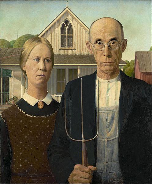 American Gothic (1930) de Grant Wood | Um dos quadros mais famosos dos Estados Unidos retrata uma família americana tipicamente protestante, com o instrumento de trabalho ao centro do quadro. Conforme Max Webber, o protestantismo deu as bases necessárias para a sedimentação do capitalismo.
