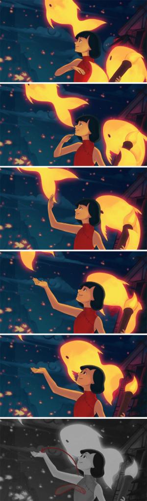 Esse movimento sutil da mão, faz toda a diferença para enaltecer o sentimento da personagem.