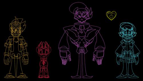 Wireframe dos personagens.