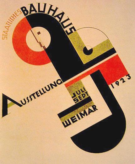 Cartaz criado por Joost Schmidt, para a exposição da Bauhaus em Weimar (1923) | Este icônico cartaz da Bauhaus é um clássico dentro os clássicos. Retrata os conceitos modernistas da escola e resume o surgimento da profissão. O design já nasceu moderno.